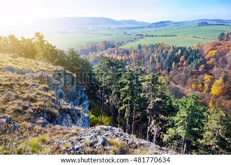 autumnal landscape with rocks,, Kotyz reservation, Koneprusy caves, Czech Karst, Czech Republic  Stock photo ©