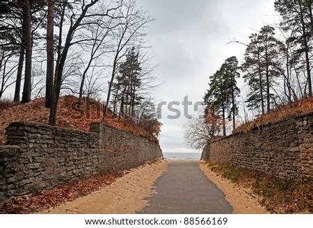 Autumnal Lane to the Baltic Sea. Estonia