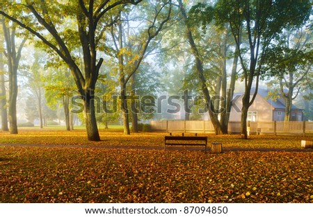 Autumnal misty morning in a park near train station of Dubulti, famous Latvian resort spot