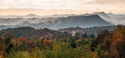 Autumnal morning on the hills in the countryside of Bologna. Panoramic landscape. Sasso Marconi, bologna Province, Emilia and  Romagna, Italy.