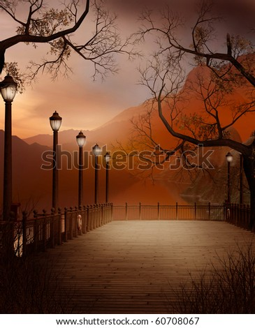 Autumnal scenery with a pier and lanterns