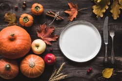 Autumnal table setting for Thanksgiving dinner. Empty plate, cutlery, pumpkins, apples and spices on wooden table. Fall food concept