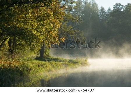 Autumnal trees over calm foggy water and old building in background