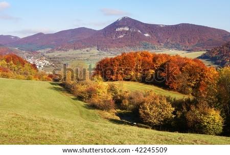 autumnal view of strazov mount in strazovske vrchy - strazov highlands slovakia europe