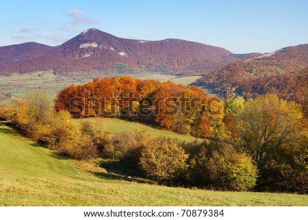 autumnal view of strazov mount in strazovske vrchy - strazov highlands slovakia europe