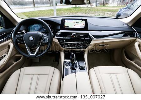 Auvergne-Rhone-Alpes, France - March 14, 2019: Interior of the luxury motor car BMW 520d (G30). #1351007027