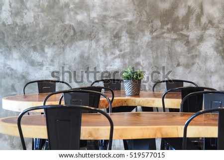 available metal chair and wooden table in restaurant, canteen or cafe #519577015