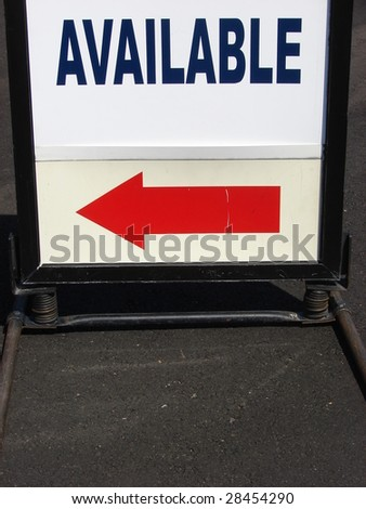 Available Sign and red arrow