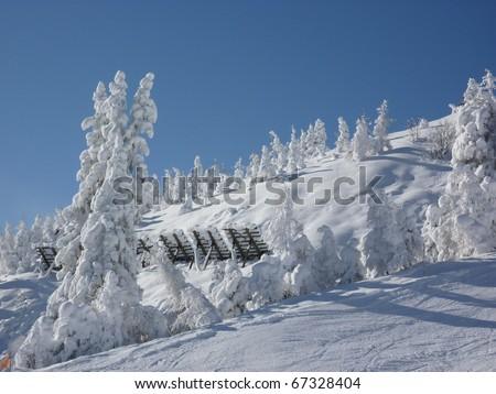 Avalanche control near the ski slopes