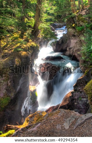 Avalanche Creek Falls in Glacier National Park, Montana