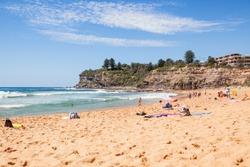 Avalon beach  , with Some locals and toerists near Sydney , Australia, december 2016
