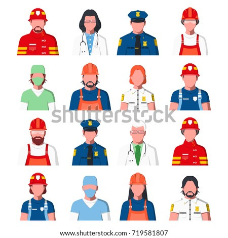 Avatars of people in flat style. Portraits of public services staff: ambulance, fire guard and police. Icons of policeman, fireman, doctor, rescuer and engineer. Raster illustration.