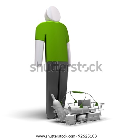 average consumer with green blank tshirt in front of a basket with goods inside, white background, 3d render