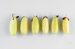 Averrhoa bilimbi fruits or belimbing buluh on white background