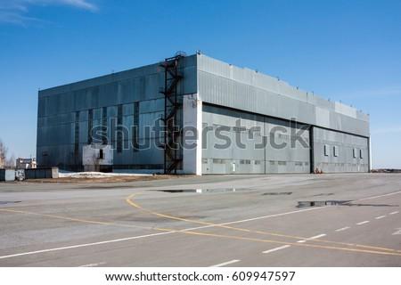 Aviation hangar at the airport