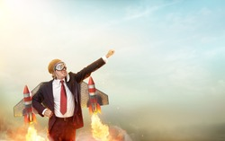 Aviator Businessman With Jetpack On His Back - Start Up Concept - 3d Render