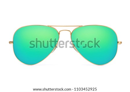 Aviator sunglasses gold frame with multicolor green mirror lens isolated on white background with clipping path #1103452925