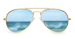 aviator sunglasses with ocean reflection. Isolated on white background. With clipping path