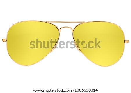 Aviator yellow sunglasses isolated on white background with clipping path #1006658314