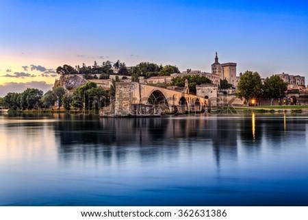 Avignon Bridge with Popes Palace and Rhone river at sunrise, Pont Saint-Benezet, Provence, France