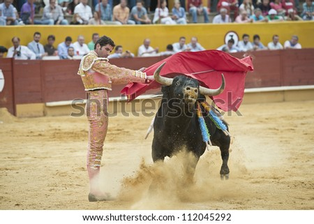 AVILA, SPAIN - JUNE 2: Serafi­n Marin fights in the welfare bullfight of Avila, a city near to Madrid in the middle of Spain in June 2, 2012.