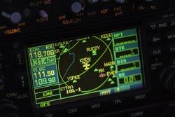 Avionics instrumentation panel on helicopter board