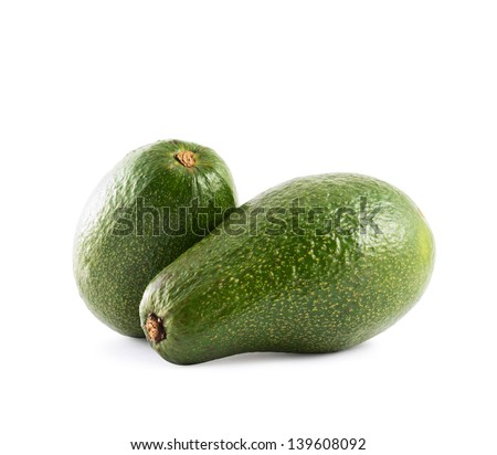 Avocado alligator pear fruit composition isolated over white background