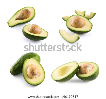 Avocado alligator pear fruit composition isolated over white background, set of four foreshortenings