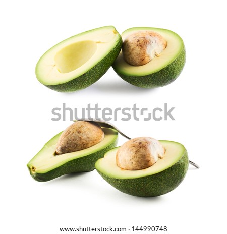 Avocado alligator pear fruit composition isolated over white background, set of two foreshortening
