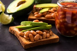 Avocado and beans on toast. Healthy and energy breakfast