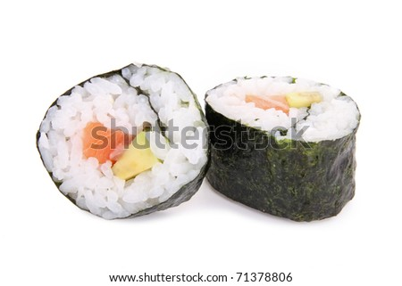 avocado and salmon sushi roll isolated on white