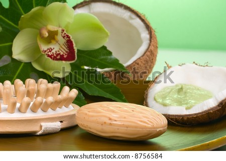 Avocado coconut scrub in coconut shell, orchid flower (Cymbidium sp.), soap and brush. Suited for relaxing and health commercials