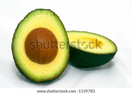 Avocado, cut, isolated white background