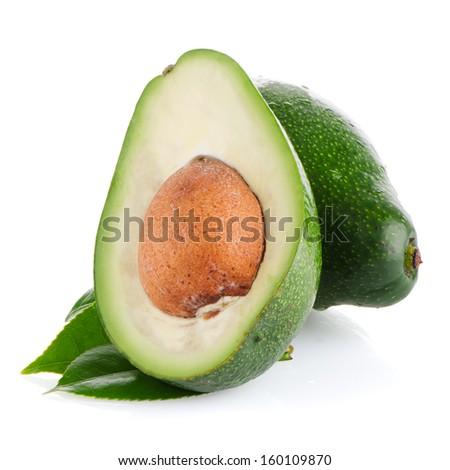 Avocado fruits on white background.