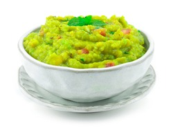 Avocado Guacamole,lime juice, salt, Onion and chili Recipe. It's smooth and creamy Dip with crunchy tortilla chips or serve as a topping to enhance the flavor of other dishes sideview