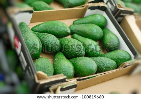 Avocado in box in supermarket