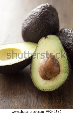 avocado on the old wood board