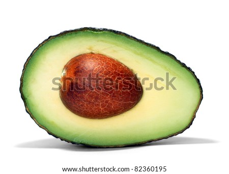 avocado over white background