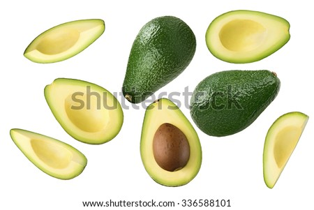 Avocado pieces set isolated on white background as package design element