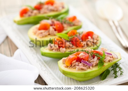 Avocado, tuna and tomato salad.