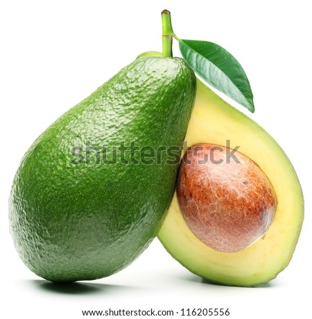 Avocado with avocado leaf isolated on a white background.