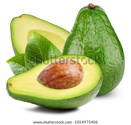Avocado with leafs isolated on white #1054975406