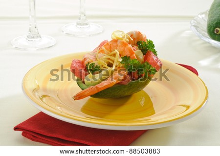 Avocado with shrimp and grapefruit - appetizer