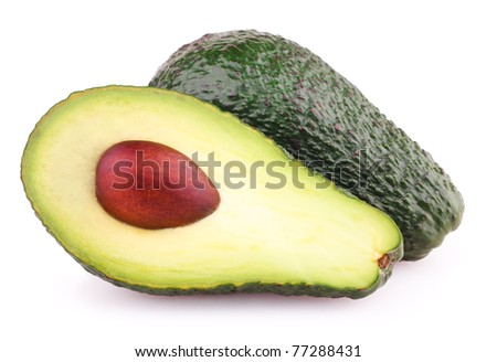 Avocados isolated on white