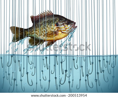 Avoid risk escape danger as a business metaphor with a jumping fish breaking free out of water that is full of sharp fishing bait hooks as a symbol of overcoming difficult challenges.