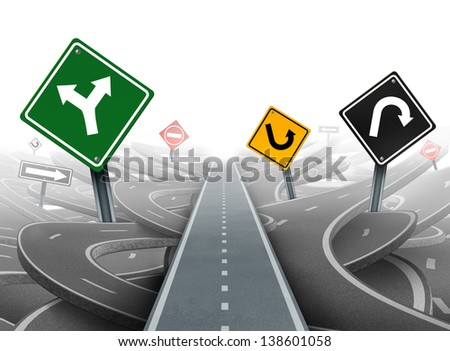 Avoiding distractions with focus on a clear strategy for solutions in business leadership as a straight path to success choosing a right strategic plan with yellow green black and red traffic signs.