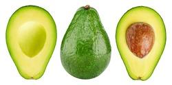Avokado fruit. Whole and half avocado isolated on white background close-up.