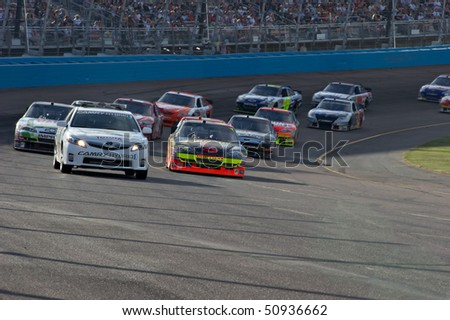 AVONDALE, AZ - APRIL 10: The pace car leads a group of cars out of turn one at the Subway Fresh Fit 600 NASCAR Sprint Cup race on April 10, 2010 in Avondale, AZ.