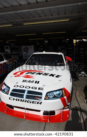 AVONDALE, AZ - NOVEMBER 13: Brad Keselowski's car in the garage during a practice session for the NASCAR Sprint Cup Series, at Phoenix International Raceway on November 13, 2009 in Avondale, AZ.