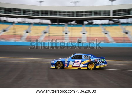 AVONDALE, AZ - OCT 4: Brad Keselowski (2) takes laps during a NASCAR Sprint Cup track testing session on Oct. 4, 2011 at Phoenix International Raceway in Avondale, AZ.